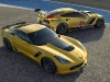 (L to R) The all-new 2015 Corvette Z06 and 2014 Corvette C7.R ra