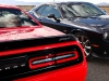 2015 Dodge Challenger SRT Supercharged (left) and Dodge Challeng