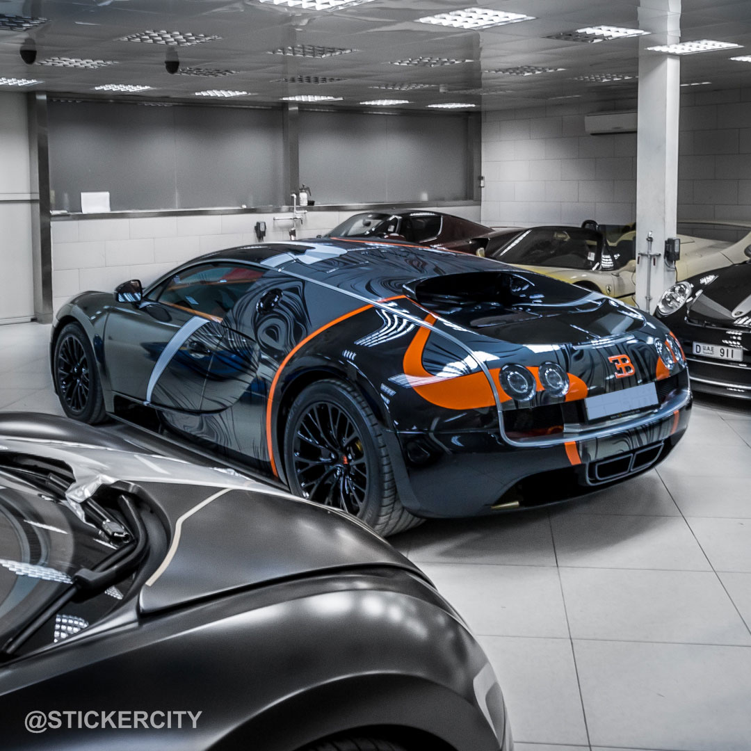 Bugatti Veyron Super Sport Black Orange: Black Chrome Bugatti Veyron Super Sport By Sticker City