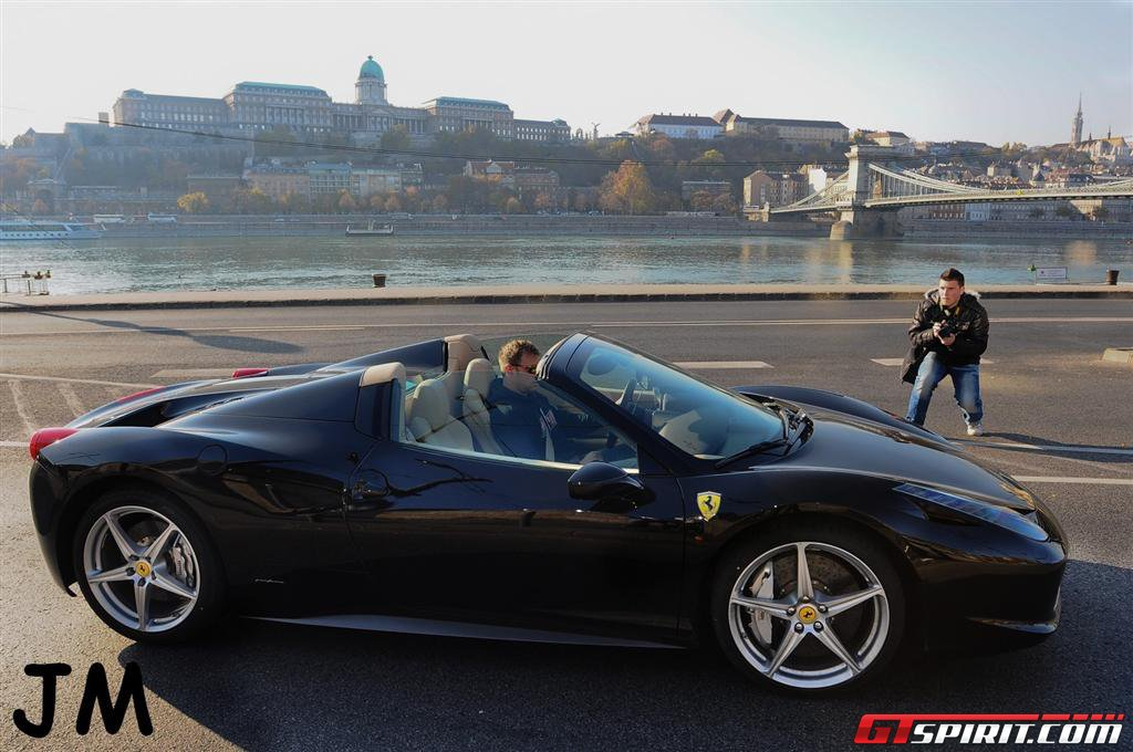 Black Ferrari 458 Spider in Budapest