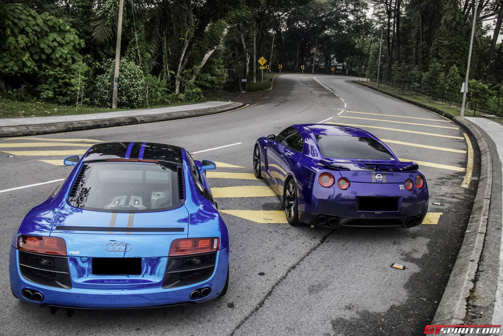 Chrome Blue Audi R8 And Pearl Blue Nissan Gt R Os 1600x1067 Carporn