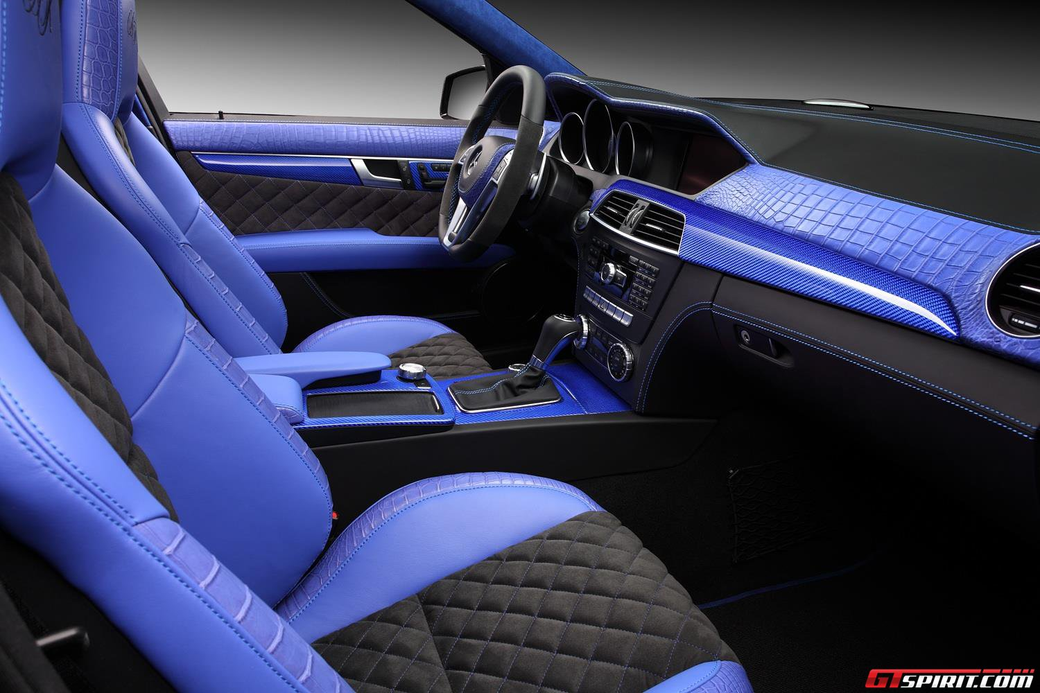 topcar fit mercedes benz c63 amg 39 s with blue crocodile skin interior for russian owner. Black Bedroom Furniture Sets. Home Design Ideas