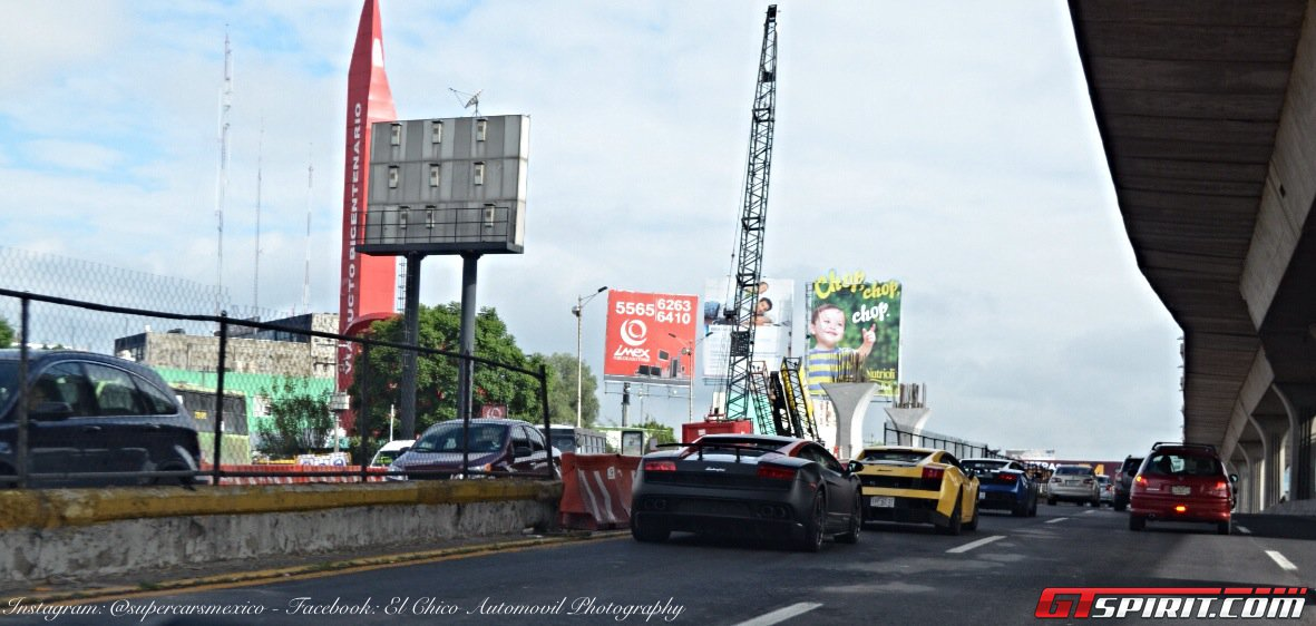 Суперкары Lamborghini на дороге в Мексике