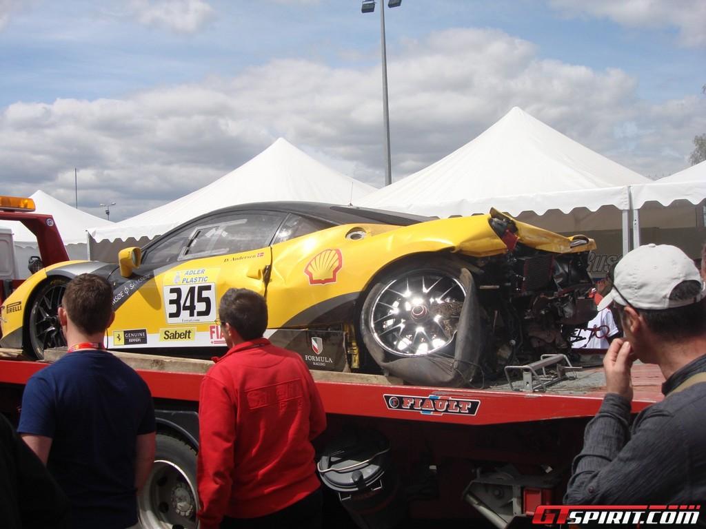 Le Mans 2011 Ferrari 458 Challenge Crashed. Picture 1 of 3