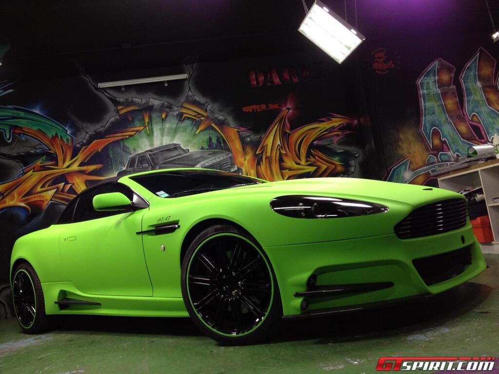 Mansory Aston Martin Db9 In Diamond Lime Green Matt Wrap