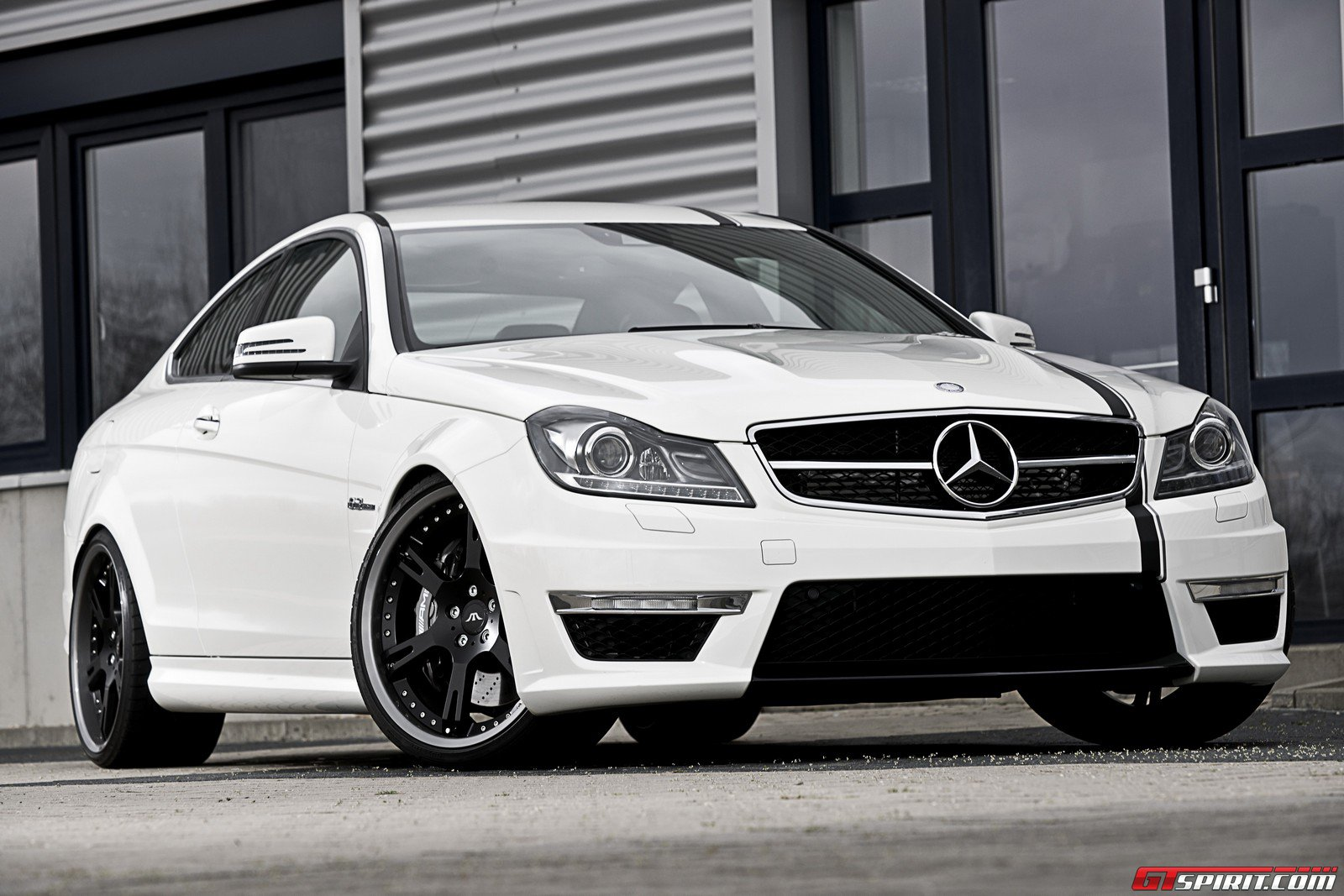 white c63 coupe on 20 39 s and coilovers by wheelsandmore. Black Bedroom Furniture Sets. Home Design Ideas