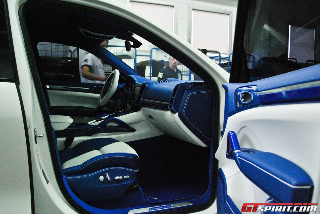 White TechArt Magnum with Blue Carbon Interior