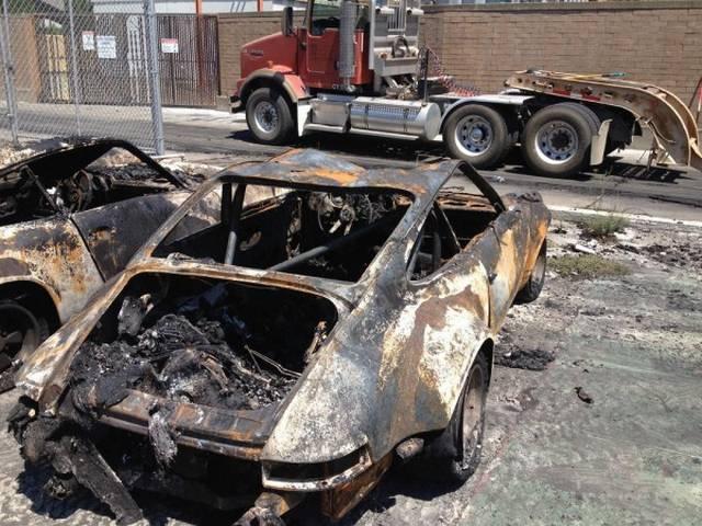 Последствия пожара на стоянке PM Motorsports