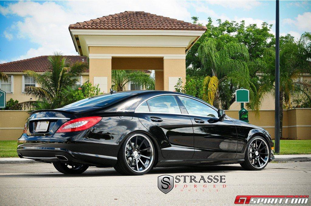 black mercedes benz cls 550 with strasse forged wheels. Black Bedroom Furniture Sets. Home Design Ideas