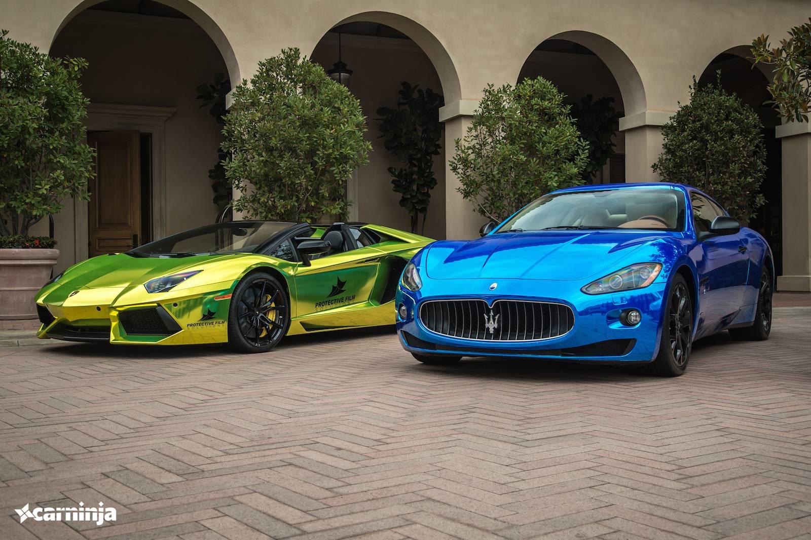 Фото Lamborghini Aventador Roadster и Maserati GranTurismo