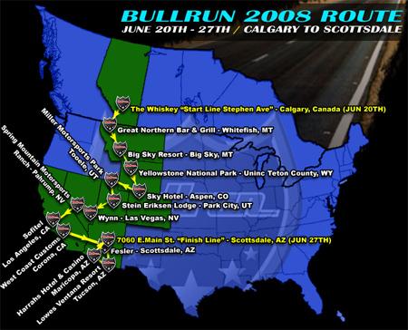 Bullrun 2008 Route
