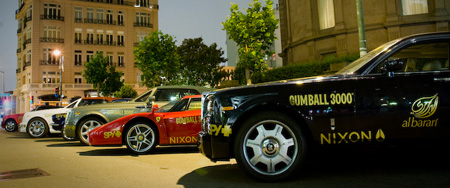 Gumball 3000 cars on display in San Francisco