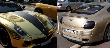 Overkill Bentley Continental GT by ASI vs gold Ferrari 599 GTB Fiorano