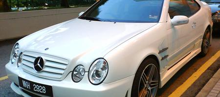 White Mercedes CLK Overkill