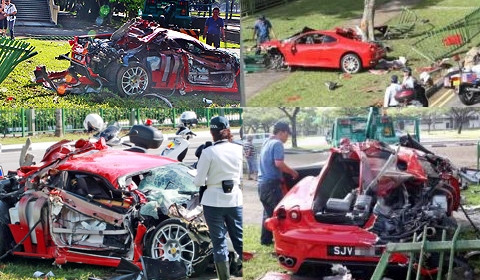 Singapore  Accident Picture on Car Crashes Are Piling Up This Week  This Time It Is A Ferrari 430