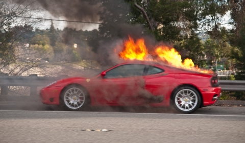 Car Crash Ferrari 360 Goes Up in Flames