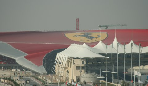 The Ferrari World Abu Dhabi park is suitated next to the Yas Marina F1