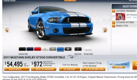 2011 Mustang Online Car Configurator