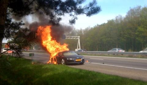 Burned Down Audi R8 on Dutch Highway