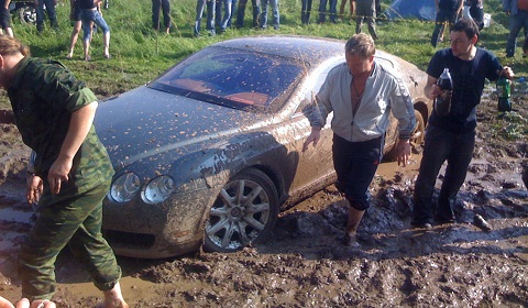 Russian Bentley Caught In The Mud