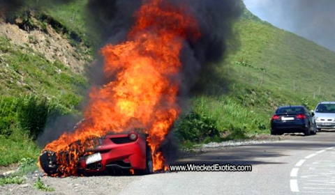 Car Crash Second Ferrari 458 Italia on Fire
