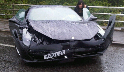 Car Crash Another Wrecked Ferrari 458 Italia