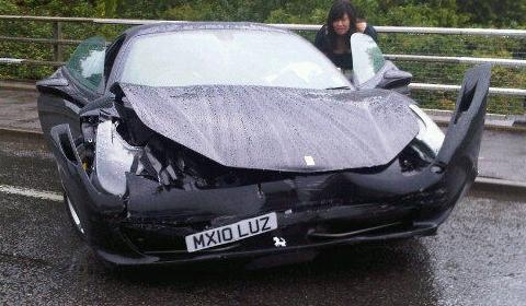 Car Crash Another Wrecked Ferrari 458 Italia