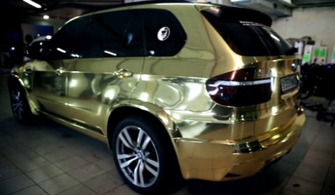 Overkill Golden BMW X5 M from Russia