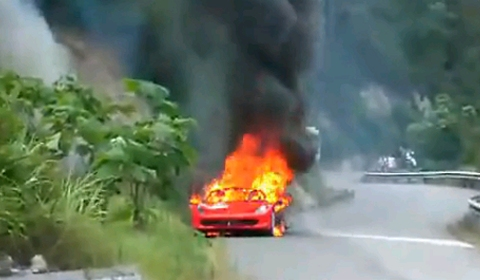 Video Ferrari 458 Italia Catches Fire in China