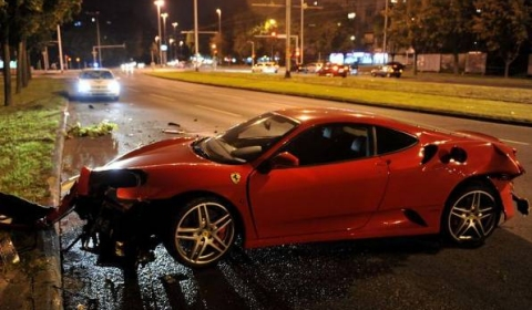 Car Crash Ferrari 430 Crashes Into a Tree