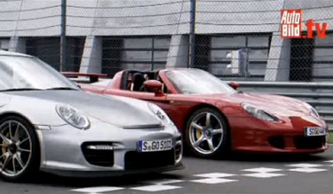 video porsche carrera gt vs porsche 911 gt2 rs gtspirit. Black Bedroom Furniture Sets. Home Design Ideas