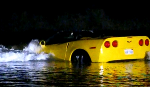 Video Yellow Corvette Tries to Swim at Pacific Beach
