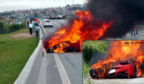 Ferrari 458 Italia Burned Down in Brazil 01