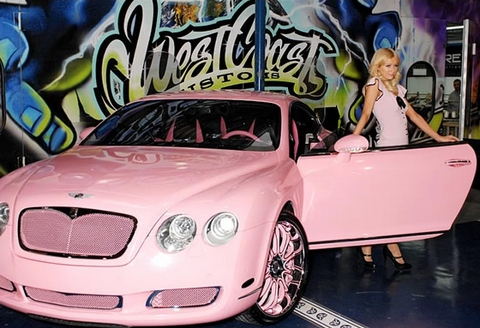 Paris Hilton & her pink Bentley Continental GT