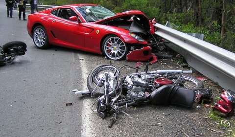 Car Crash Ferrari 599 Drifts and Hits Two Motorcyclists