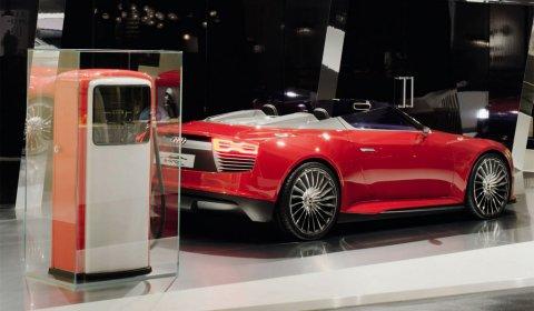 Red Audi E-tron Spyder at Design Miami 01
