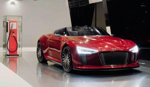 Red Audi E-tron Spyder at Design Miami 02
