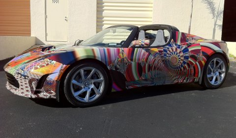 Tesla Roadster Psychedelic Edition by Laurence Gartel