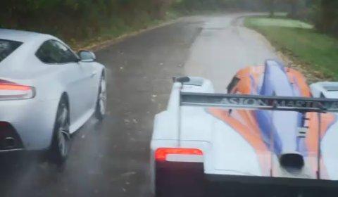 Video Aston Martin V12 Vantage Versus Gulf DBR1-2 Racer