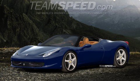 rendering 2012 ferrari 458 italia spyder - Ferrari 458 Italia Blue