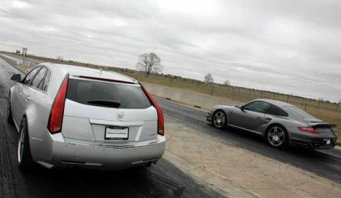 Video Hennessey V650 CTS-V Wagon VS Porsche 911 Twin Turbo