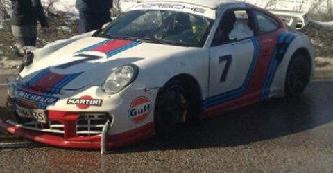 Car Crash Porsche 997 GT2 Martini Edition Crashed in Finland 01