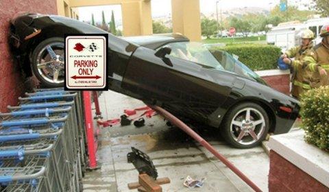 Car Crash Corvette Private Parking Spot at Wal Mart