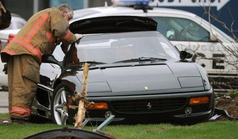 Car Crash Ferrari 355 Spyder Crashes in North Lincoln
