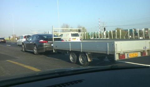 Spotted Porsche Panamera Towing a Trailer