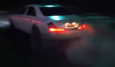 Video Matte White Maybach Parking Lot Burnout