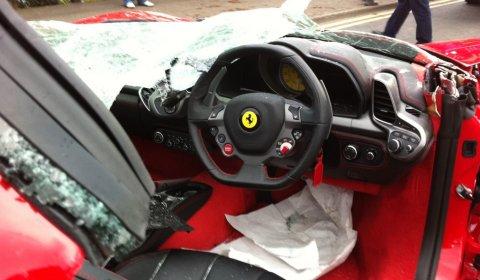 Car Crash Ferrari 458 Italia Loses Roof in The UK