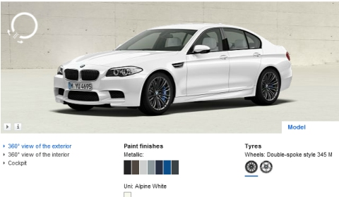 2012 BMW F10M M5 Online Configurator