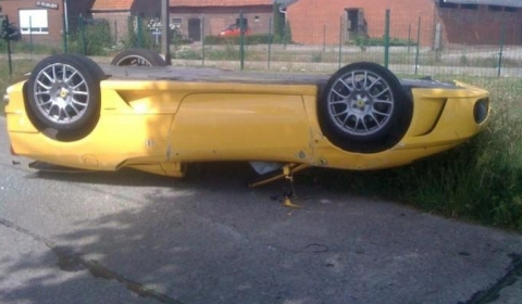 Car Crash Ferrari F430 Spider Lands On Its Roof