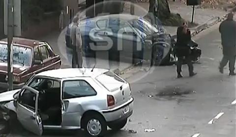 Car Crash Ferrari 456 Crash Recorded by Security Camera